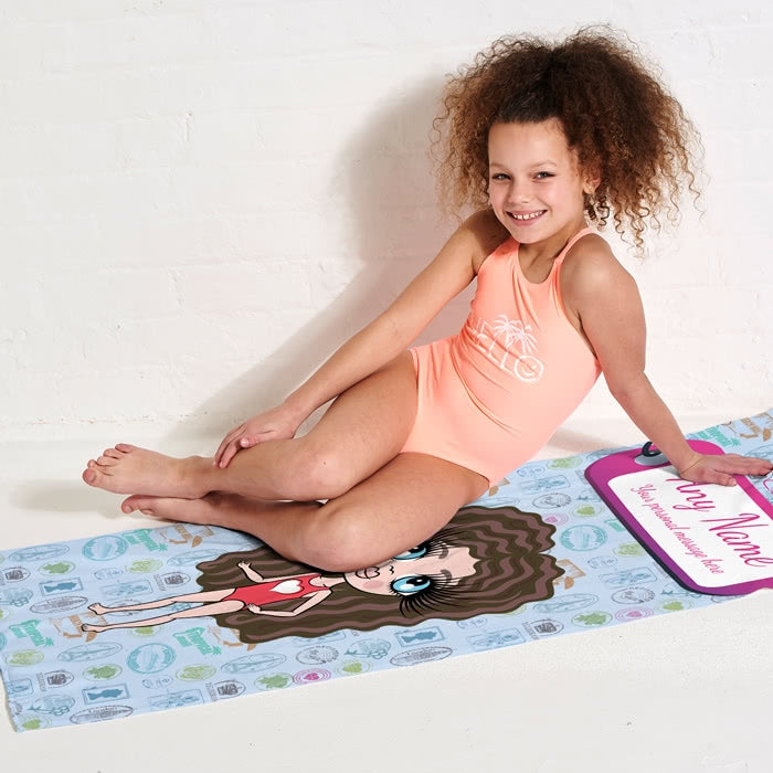 ClaireaBella Girls Travel Stamp Beach Towel - Image 3