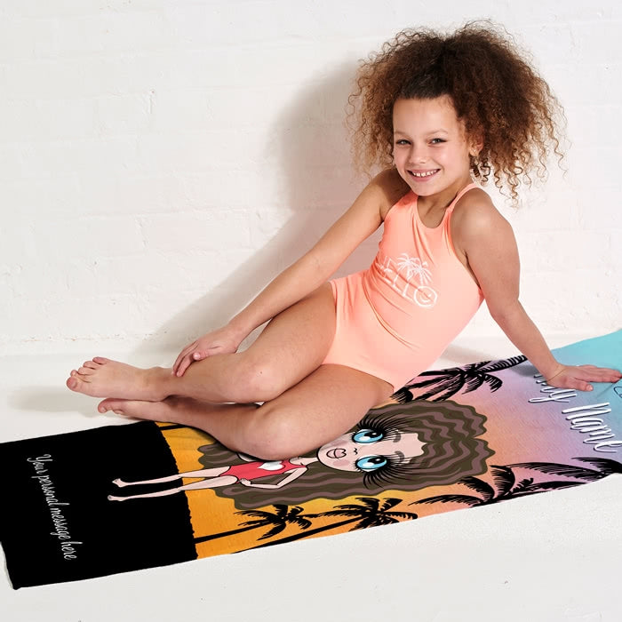 ClaireaBella Girls Tropical Sunset Beach Towel - Image 3