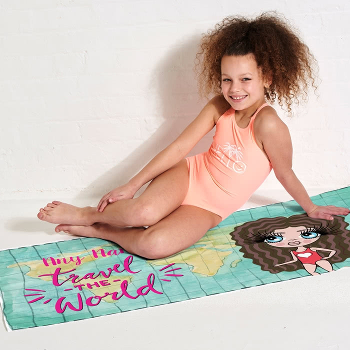 ClaireaBella Girls World Print Beach Towel - Image 3