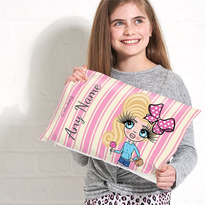 ClaireaBella Girls Placement Cushion - Pink Stripe - Image 3