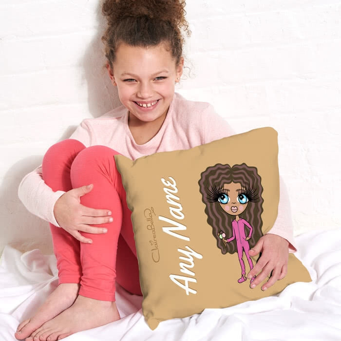 ClaireaBella Girls Square Cushion - Mocha - Image 1