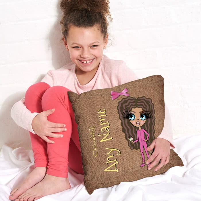 ClaireaBella Girls Square Cushion - Jute Print - Image 3