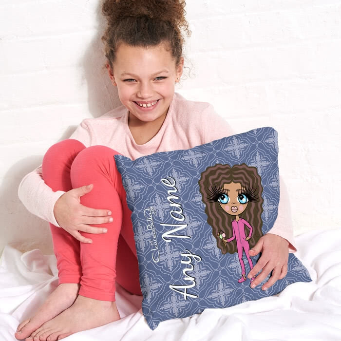 ClaireaBella Girls Square Cushion - Navy - Image 1