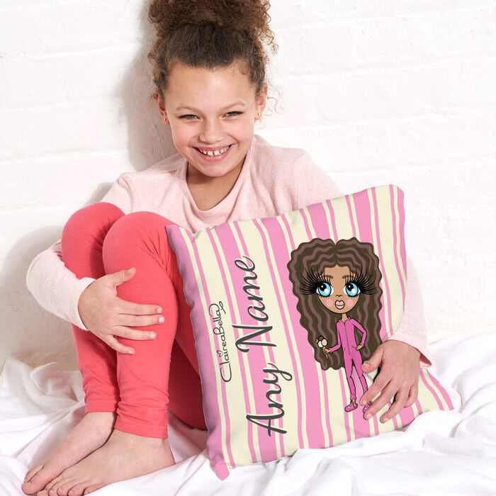 ClaireaBella Girls Square Cushion - Pink Stripe - Image 3