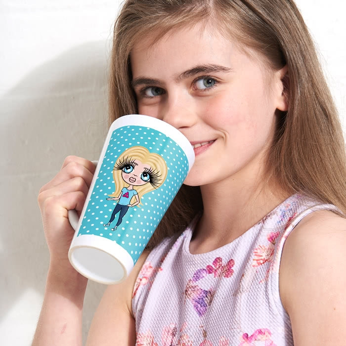 ClaireaBella Girls Blue Polka Dot Latte Mug - Image 4