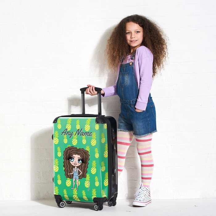 ClaireaBella Girls Pineapple Print Suitcase - Image 1