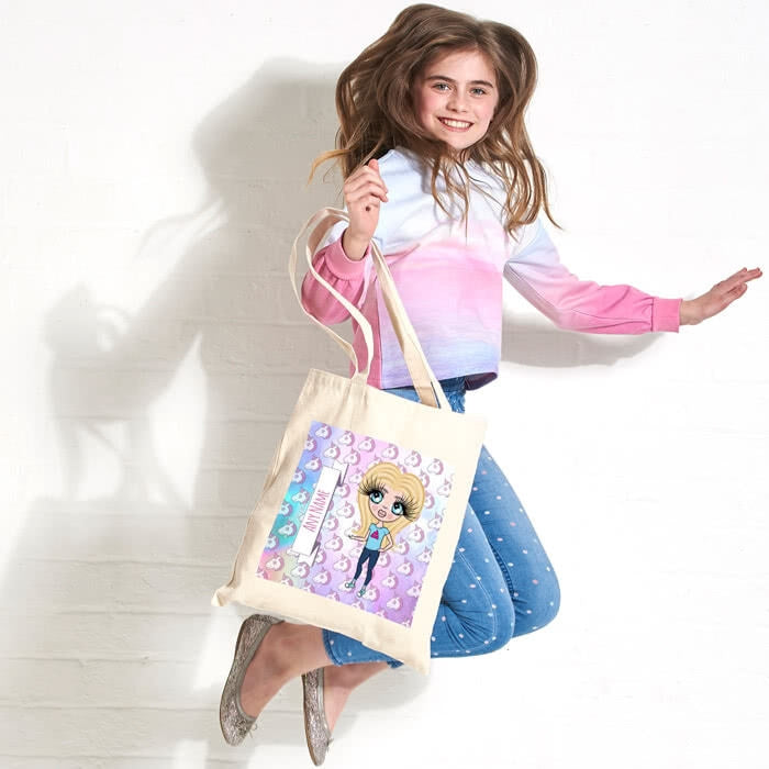 ClaireaBella Girls Unicorn Emoji Canvas Bag - Image 1