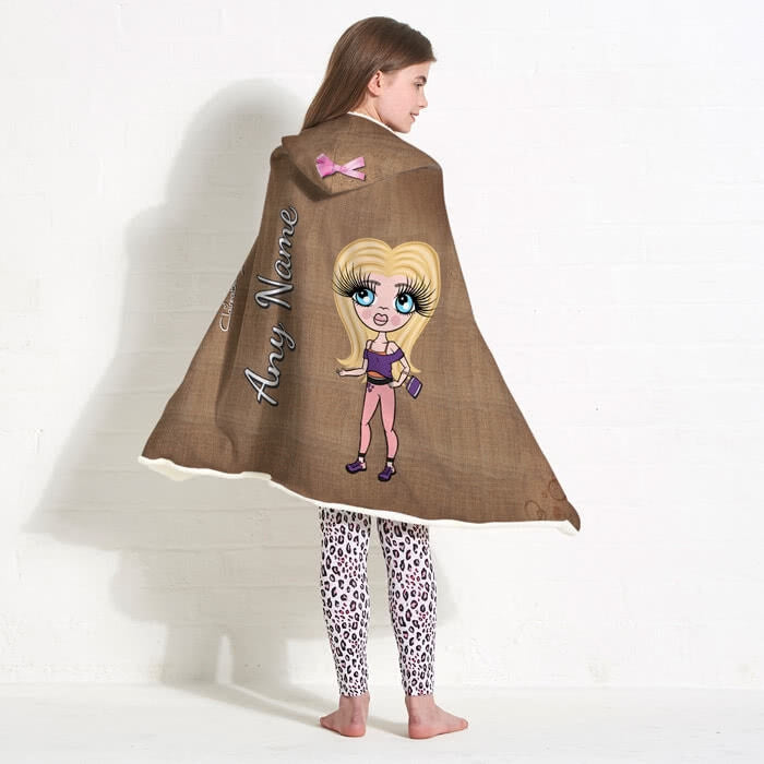 ClaireaBella Girls Jute Print Hooded Blanket - Image 6