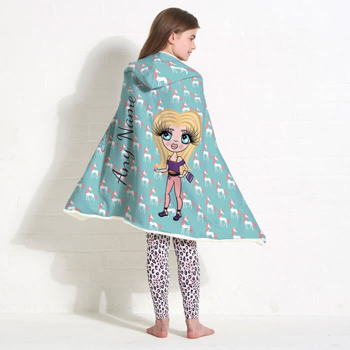 ClaireaBella Girls Unicorns Hooded Blanket - Image 1