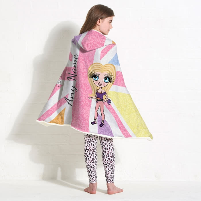 ClaireaBella Girls Union Jack Hooded Blanket - Image 6