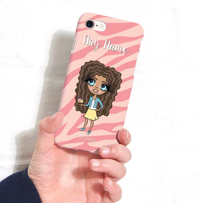 ClaireaBella Girls Personalised Pink Zebra Phone Case - Image 5