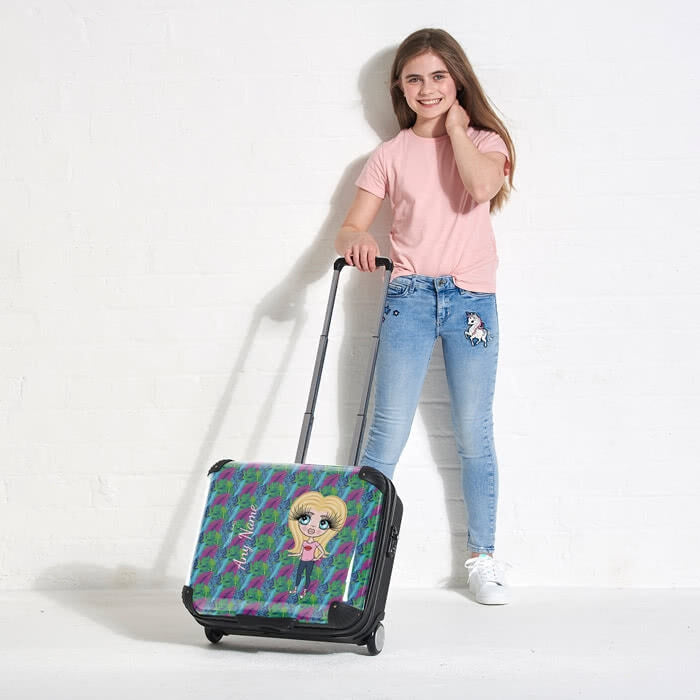 ClaireaBella Girls Neon Leaf Weekend Suitcase - Image 5