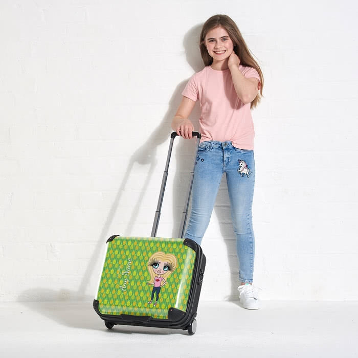 ClaireaBella Girls Pineapple Print Weekend Suitcase - Image 3