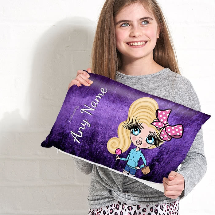 ClaireaBella Girls Placement Cushion - Purple Velvet Effect - Image 2