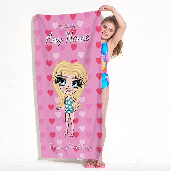 ClaireaBella Girls Hearts Beach Towel - Image 1