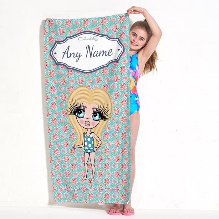 ClaireaBella Girls Rose Beach Towel - Image 1