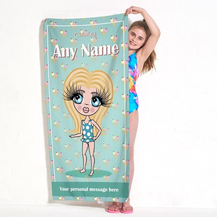 ClaireaBella Girls Ice Cream Sundae Beach Towel - Image 1