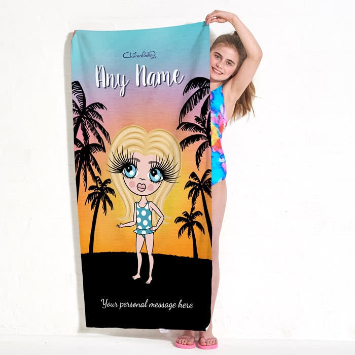 ClaireaBella Girls Tropical Sunset Beach Towel - Image 2