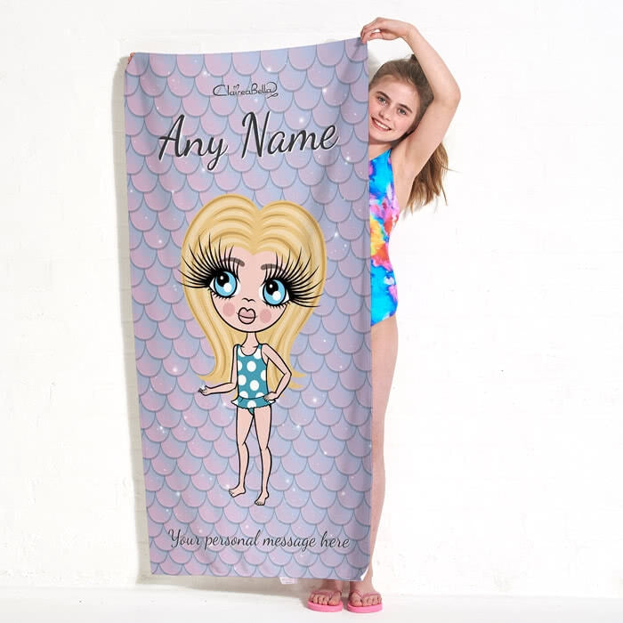 ClaireaBella Girls Mermaid Glitter Effect Beach Towel - Image 4
