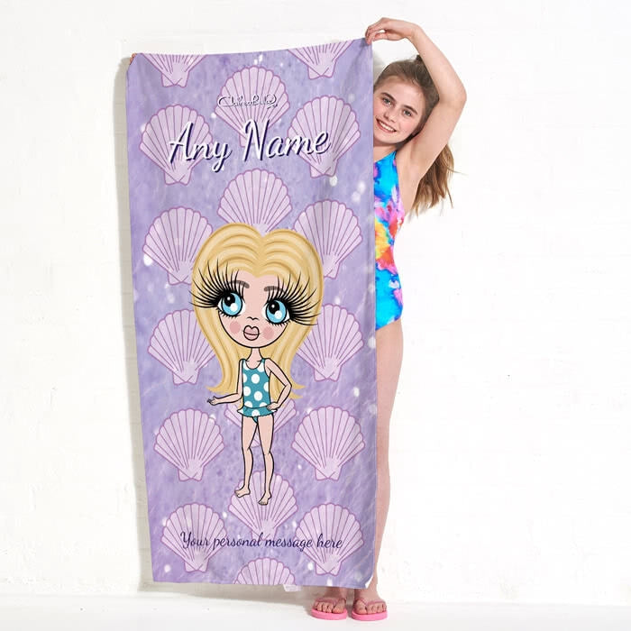 ClaireaBella Girls Sea Shells Beach Towel - Image 3