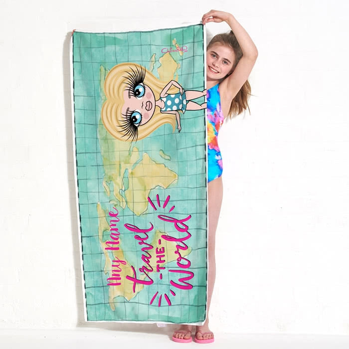 ClaireaBella Girls World Print Beach Towel - Image 2