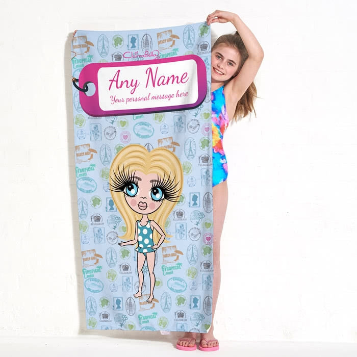 ClaireaBella Girls Travel Stamp Beach Towel - Image 4