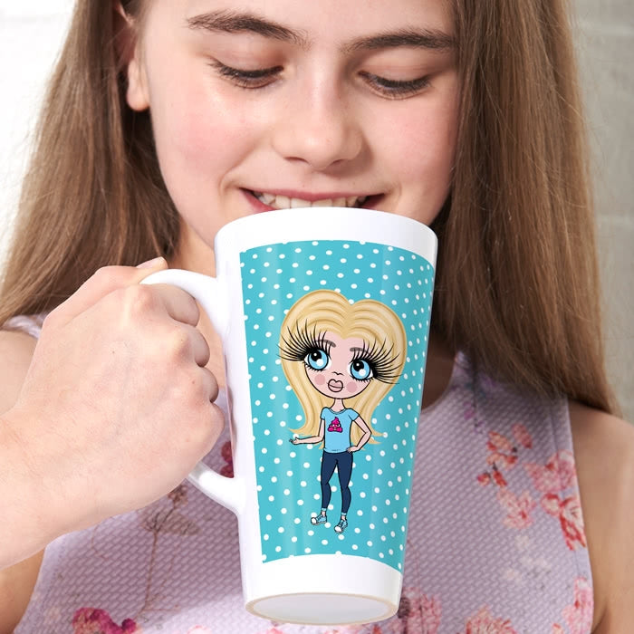 ClaireaBella Girls Blue Polka Dot Latte Mug - Image 2