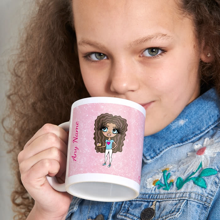 ClaireaBella Girls Baby Pink Glitter Mug - Image 2