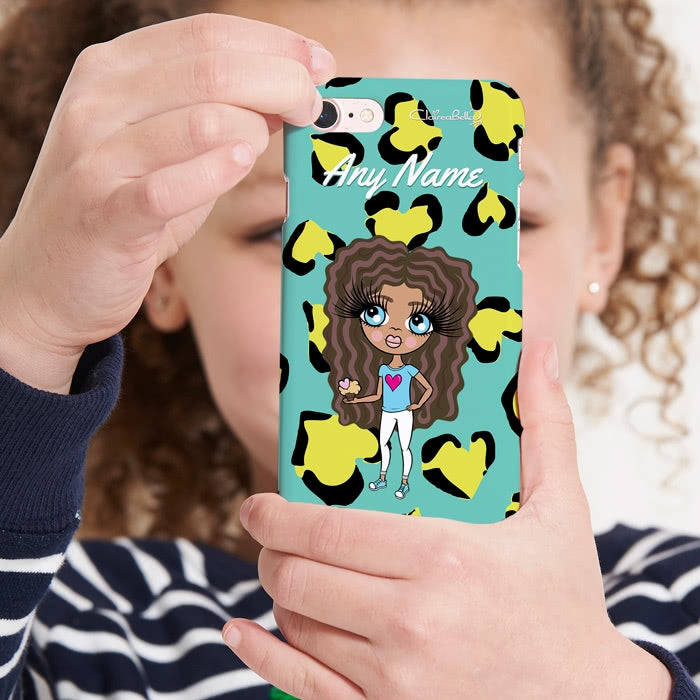 ClaireaBella Girls Personalised Heart Leopard Phone Case - Image 1