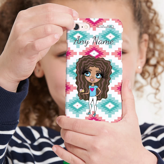 ClaireaBella Girls Personalised Aztec Geo Phone Case - Image 1