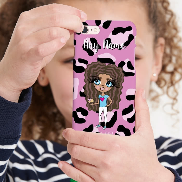 ClaireaBella Girls Personalised Lilac Leopard Phone Case - Image 5
