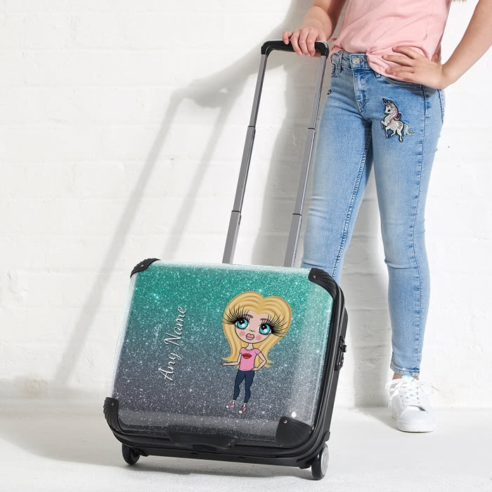 ClaireaBella Girls Ombre Glitter Effect Weekend Suitcase - Image 1