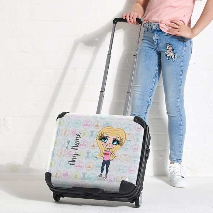 ClaireaBella Girls Travel Stamp Weekend Suitcase - Image 8