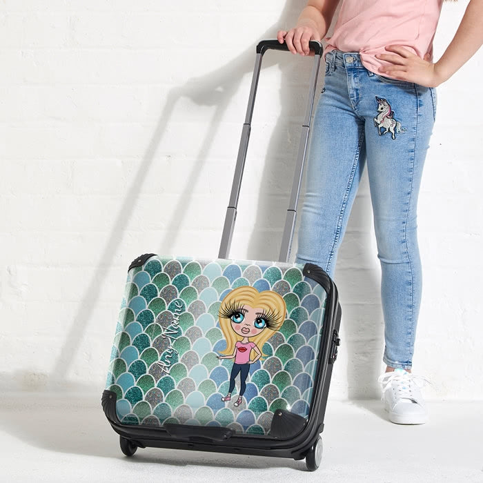 ClaireaBella Girls Mermaid Glitter Effect Weekend Suitcase - Image 1