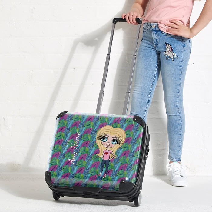 ClaireaBella Girls Neon Leaf Weekend Suitcase - Image 3