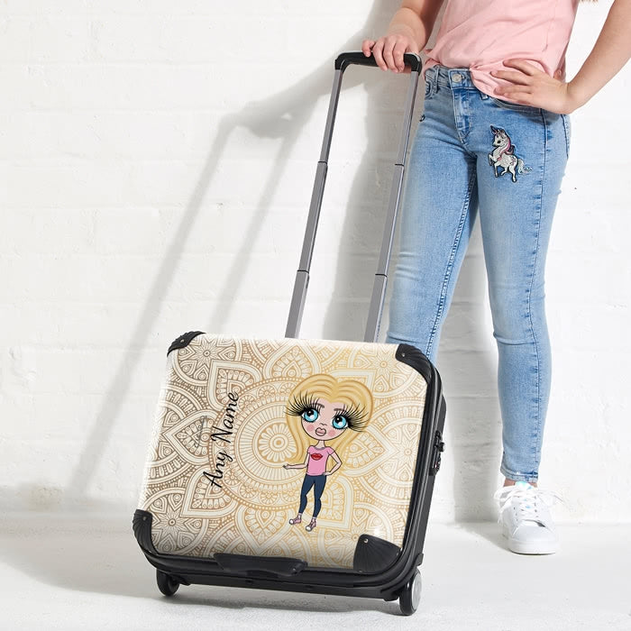ClaireaBella Girls Golden Lace Weekend Suitcase - Image 1