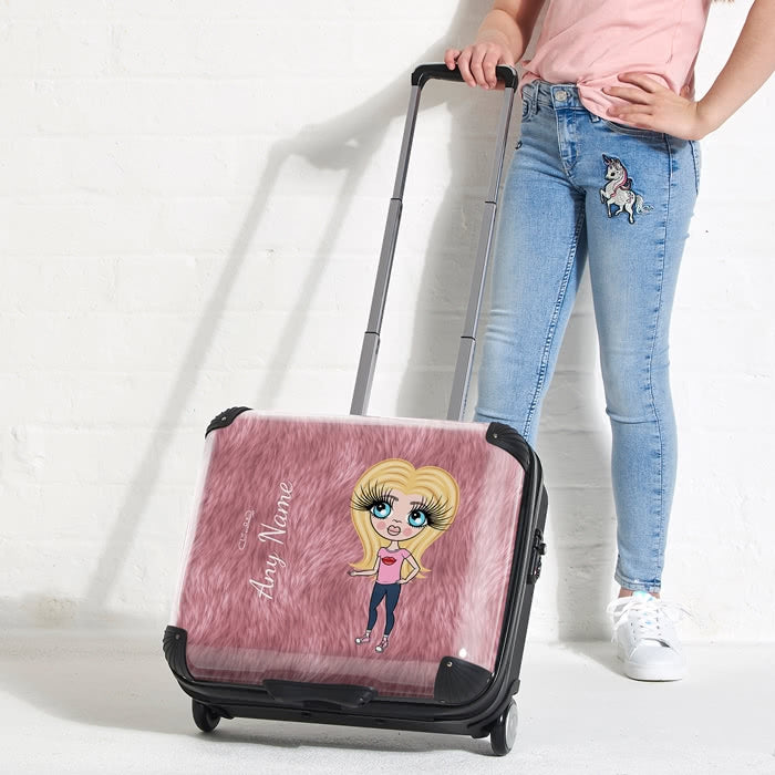 ClaireaBella Girls Fur Effect Weekend Suitcase - Image 4