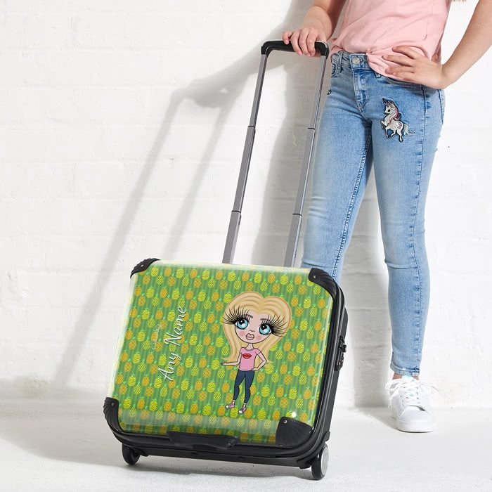 ClaireaBella Girls Pineapple Print Weekend Suitcase - Image 1