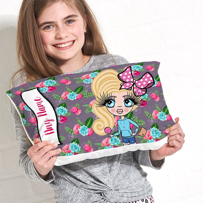 ClaireaBella Girls Placement Cushion - Grey Floral - Image 3