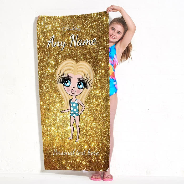 ClaireaBella Girls Glitter Effect Beach Towel - Image 7