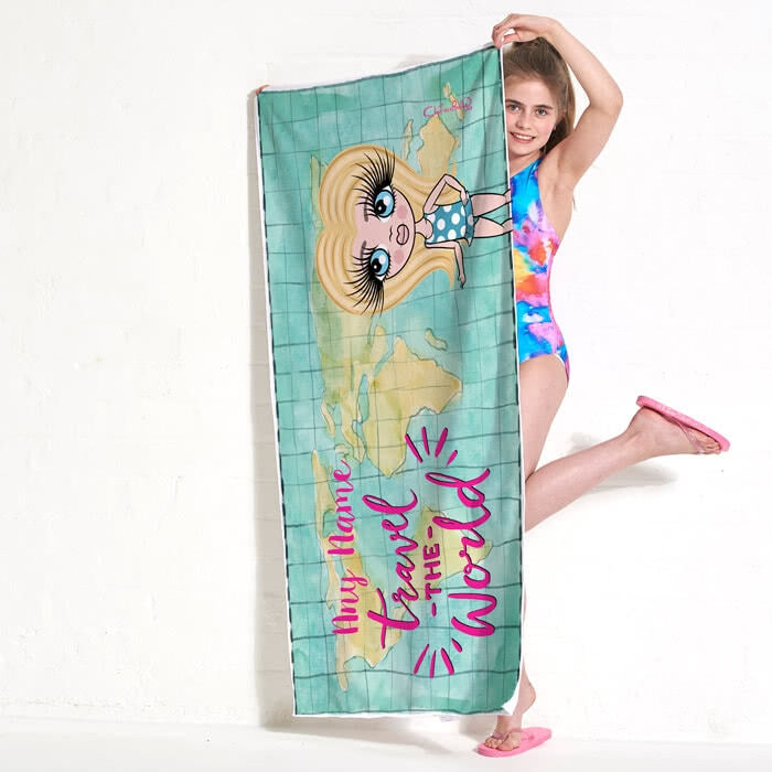 ClaireaBella Girls World Print Beach Towel - Image 4