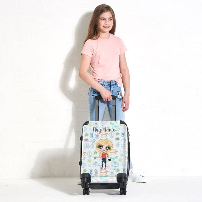 ClaireaBella Girls Travel Stamp Suitcase - Image 2