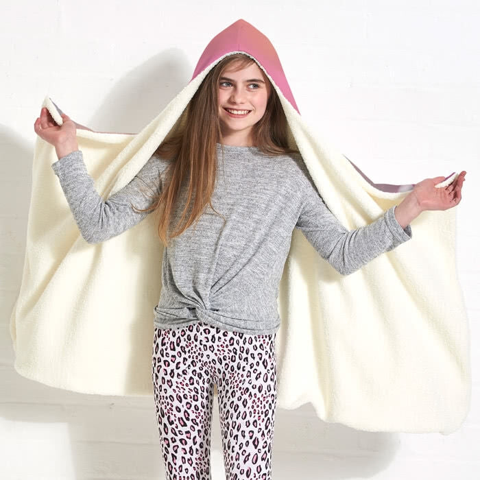 ClaireaBella Girls Unicorn Colours Hooded Blanket - Image 2
