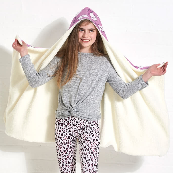 ClaireaBella Girls Unicorn Emoji Hooded Blanket - Image 2