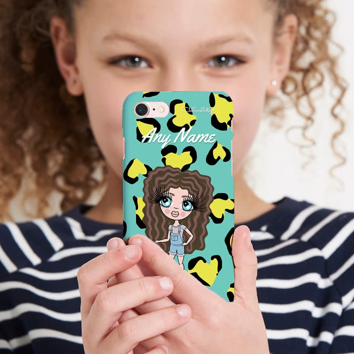ClaireaBella Girls Personalised Heart Leopard Phone Case - Image 5