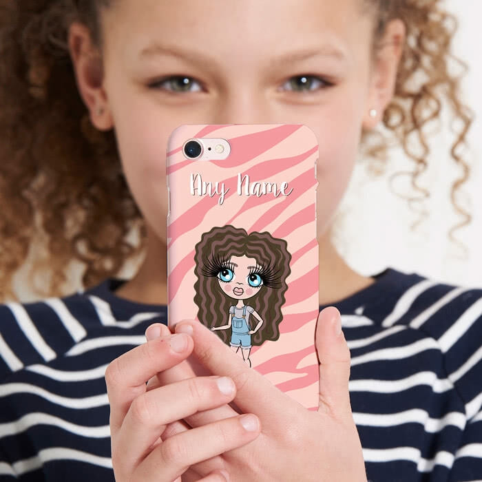 ClaireaBella Girls Personalised Pink Zebra Phone Case - Image 4