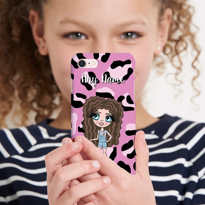 ClaireaBella Girls Personalised Lilac Leopard Phone Case - Image 1