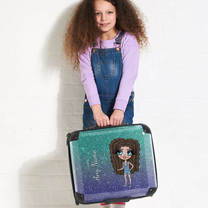 ClaireaBella Girls Ombre Glitter Effect Weekend Suitcase - Image 5