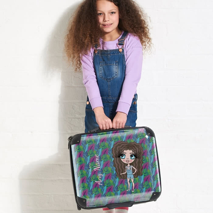 ClaireaBella Girls Neon Leaf Weekend Suitcase - Image 4