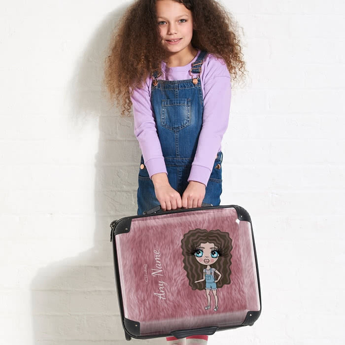 ClaireaBella Girls Fur Effect Weekend Suitcase - Image 1